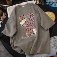 Cotton Leopard Print Loose Oversized Tshirt
