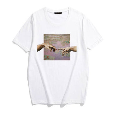 Aesthetic art oil painting sky Fun Personality Print streetwear t-shirt