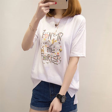 Short Sleeve Casual Loose Graphic Tees Tops Female Tshirt
