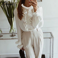 White Ruffles Shirts Stylish Tops Lace Elegant Office Ladies Blouse