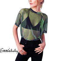 Hirigin Sexy Mesh Shirt Short Sleeve Shirt Blouse