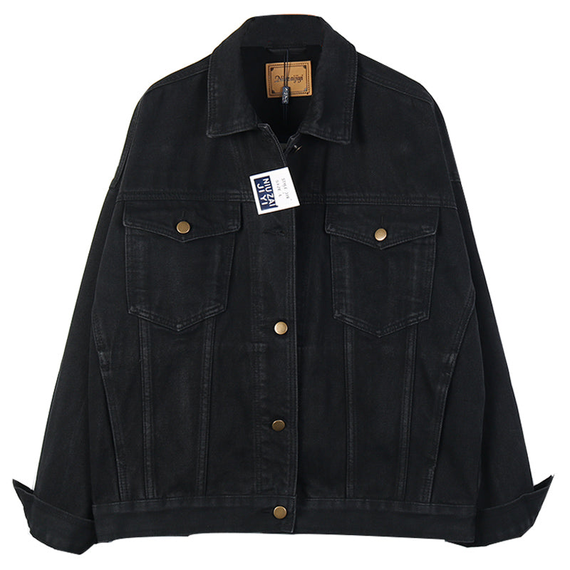New Black Denim Jacket Female Large Size