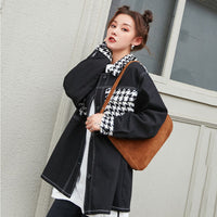 Fashion Long Sleeve Loose Tassel Hit color Patchwork Denim Jacket