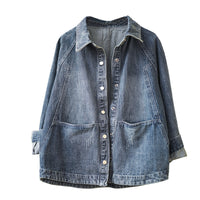 Single breasted Turn-down collar jeans jacket