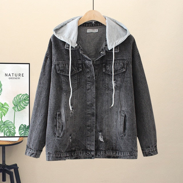 Loose Black Removable Hooded Hole Denim Jacket