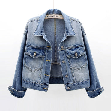 Loose Short Denim Student Coat Vintage Long sleeve Jeans Jacket