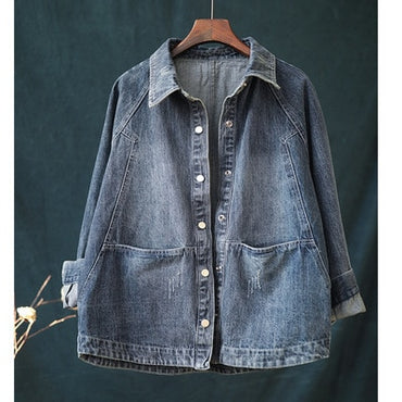 Dark blue Simple Cowboy Single breasted Turn-down collar jeans jacket
