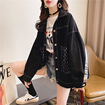 Loose Casual Denim Wild Long-sleeved Coats and Jackets