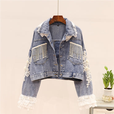 Beading Emboridered Gauze Lace Long Sleeve Blue Slim Short Denim Jacket