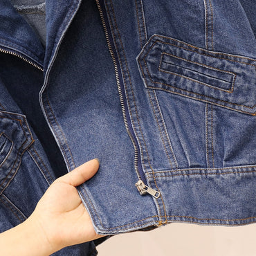 Oversized Jean Punk Heavy Industry Fringed Chain Denim Jacket