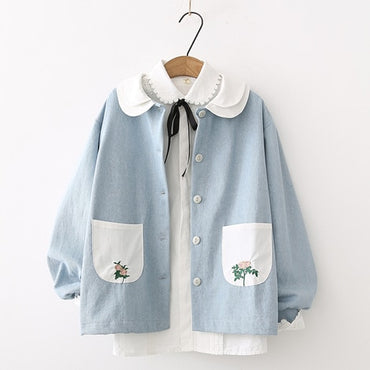 Denim Coat Peter Pan Collar Blue Washed Cotton Jacket