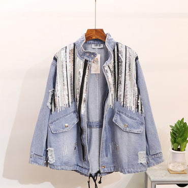 Sequin Denim Jacket Oversized All Match Jean Jacket