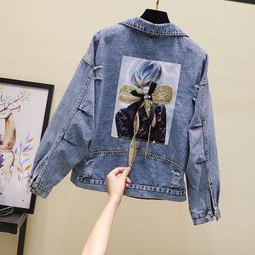 New Loose Hole Three-dimensional Butterfly Knot Denim Coat