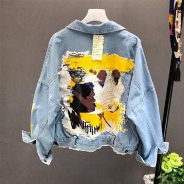 Denim Jacket Hand-painted Pattern Chic Denim Coat