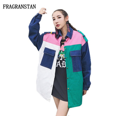 New Cotton Denim Hit Color Patchwork Pockets Jackets