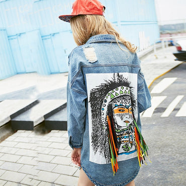 New Fashion Personality Hole Tassel Denim Jackets
