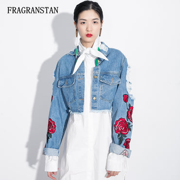 New Rose Embroidery Frayed Hollow Out Vintage Denim Jackets