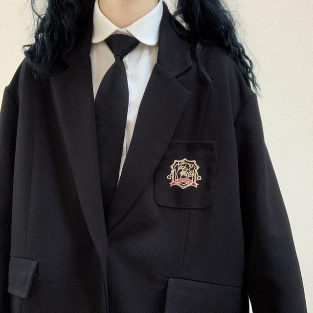 Soft Sister Badge Embroidery Coat Young Girl Student Black Jacket