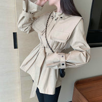 Coat Zipper Stand Neck Long Sleeve Jacket