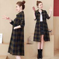 Shirt Trench Coat Plaid Casual Thin Loose Coat