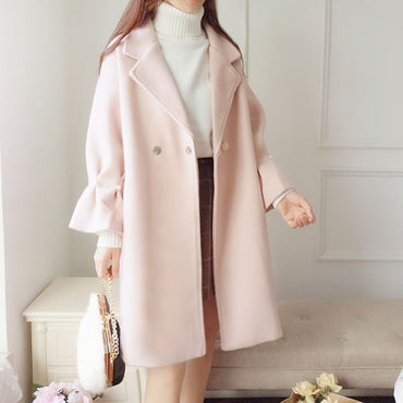 Woolen Coat Apricot Pink Formal Elegant Warm Outerwear