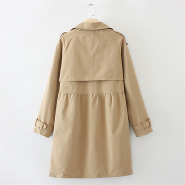 Long Trench Epaulette Double Breasted long Sleeve Trench Coat