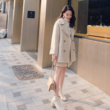 Leiouna Turn-down Faux Wool Solid Fashion Coat