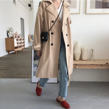 Casual Turn-down Neck Trench Coat Loose Vintage Loose