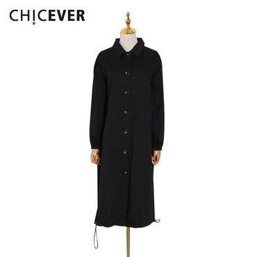 Drawstring Windbreaker Lapel Collar Long Sleeve Oversize Coat