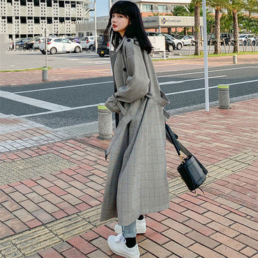 Vintage Windbreaker college style Plaid Long Trench Coats