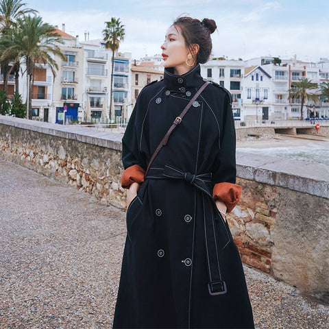 fashion Black classic Hepburn Long Trench Coat