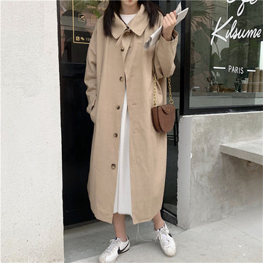 Loose Solid Office Lady Plus Size Casual Long Trench Coats