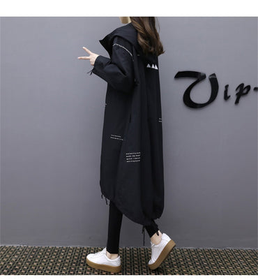 Loose Slim Windbreaker mid-length Large Size Hooded Long Trench Coats
