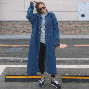 Long Denim Windbreaker Streetwear Loose Big Size Trench Coat