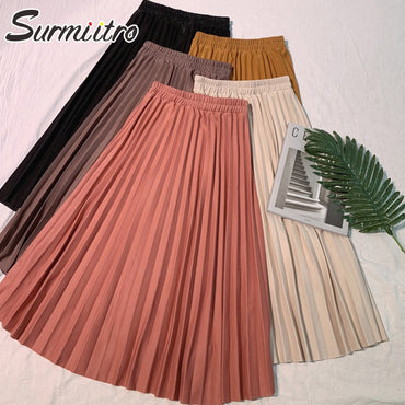 Elegant Solid Midi Pleated Red Black High Waist A-line School Long Skirt