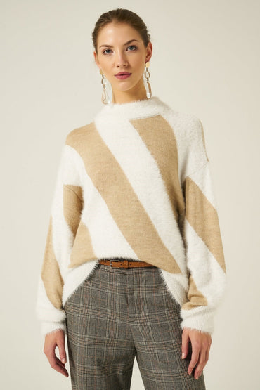 Crew Neck Striped Sweater Knitted Pullower