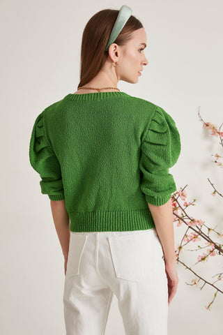 Balloon Sleeve Openwork Sweater Knitted Pullower