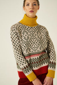 Pattern Turtleneck Sweater Knitted Pullower