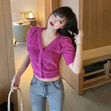 Color Bubble Short Sleeve V-neck Knitted Cardigan Tops Sweaters
