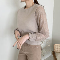 Patchwork Lace Light Knitted Jumpers Chic Sweaters