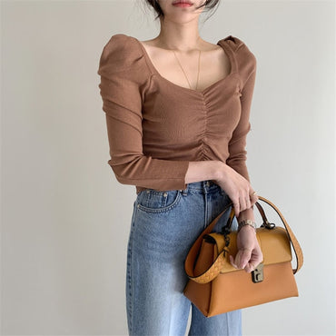 Slim Puff Sleeves Sexy Solid Square Collar Sweaters