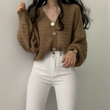Chic Solid Single Breasted Female Cardigans Retro Lantern Sleeve Sweaters