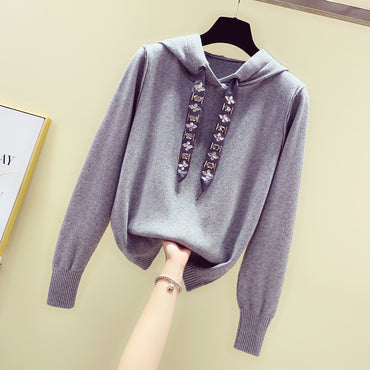New Hooded Loose Long Sleeve Rope Beaded Sweater