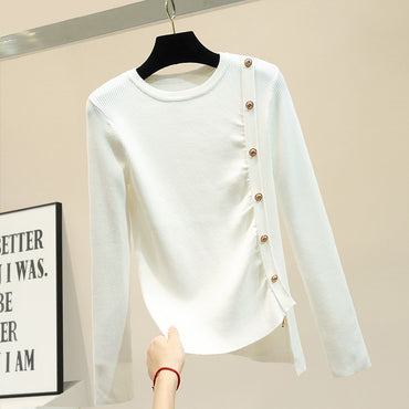 Long Sleeve Knitted Sweater Basic Shirt Thin Ice Silk Pull Knitwear