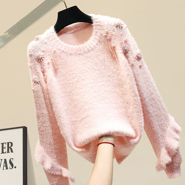 Flower Sleeve New Knitted Top Thickened Loose Sweaters