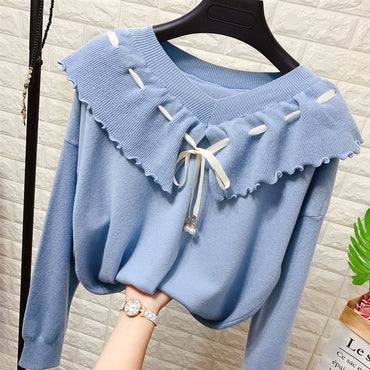 Lace Up Big V-neck Clothes Loose Fit Sweater