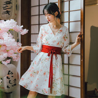 Kimono Fancy Crane Cherry Blossoms Print Chiffon Dress