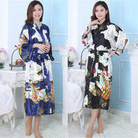 Clothes Kimono Traditional Yukata Adult Loose Satin Silk Print