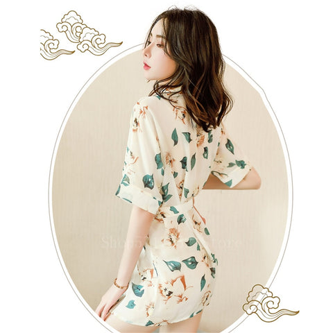 Traditional Kimono Short Dress Girl Vintage Sexy Printed