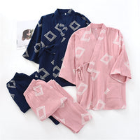 Sleepwear Cotton Wrinkled Pattern Cardigan Kimono